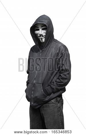 Portrait Of Man Wearing Anonymous Mask