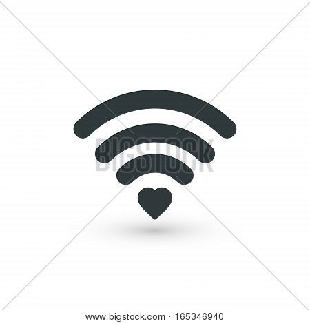 Heart wifi. Vector heart connect icon in flat style. Heart signal. Love connection. Wifi hotspot signal. Love signal. Wifi signal. Wifi sign.