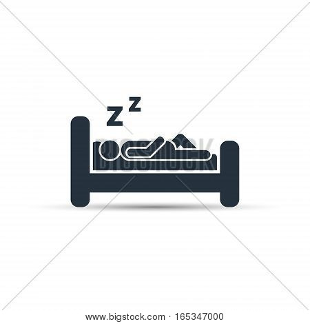 Sleeping man on bed vector silhouette illustration isolated on white.