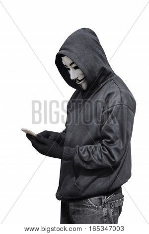 Hacker Man With Mask Using A Smartphone