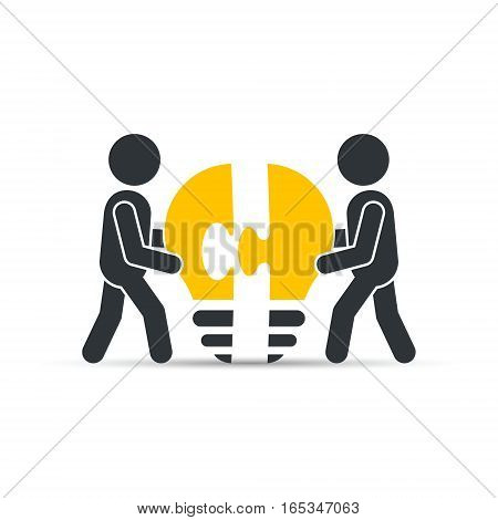 Completing Idea. Business illustration of men with bulb puzzle.