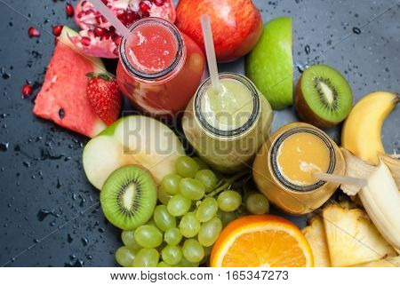 Juices Red Green Yellow Tropical Fruits