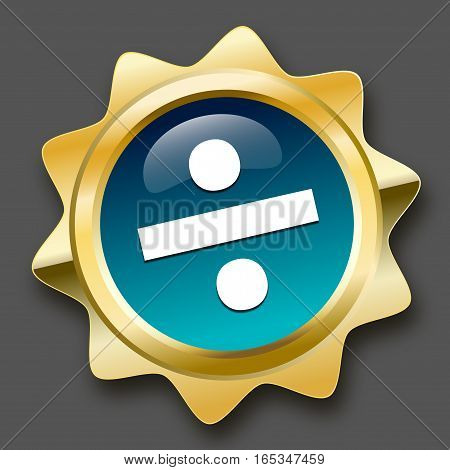 Division seal or icon. Glossy golden seal or button.