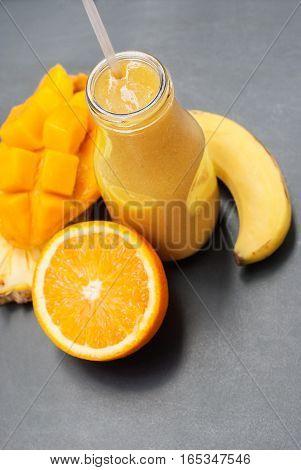 Smoothie Fruits Orange Banana Mango Pine Apple
