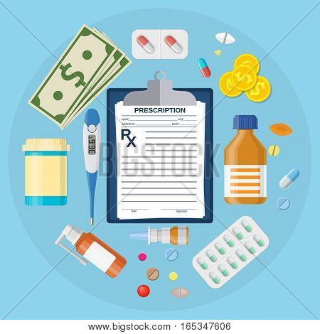 Pills bottles, tablets with medical prescription. Thermometer medicine, pill, drugs, capsules, money, clipboard with Rx. Vector illustration in flat style