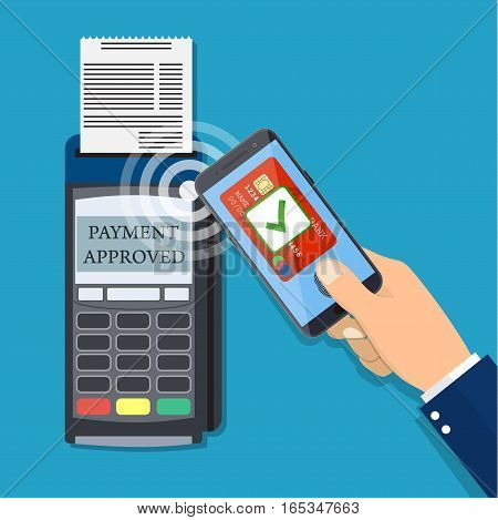Payments using terminal and smartphone, near field communication technology, online banking. Flat design vector.
