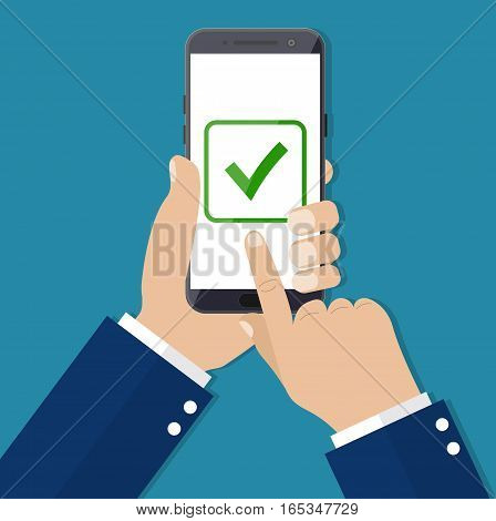 Checkboxes on smartphone screen. Hand hold smartphone, finger touch screen. Checkboxes and checkmark. vector illustration in flat style