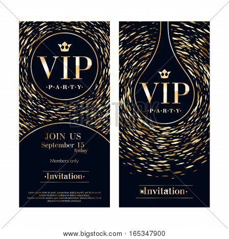 VIP club party premium invitation card poster flyers set. Black and golden round burst design template. Sharp oval sequins pattern decorative vector background.