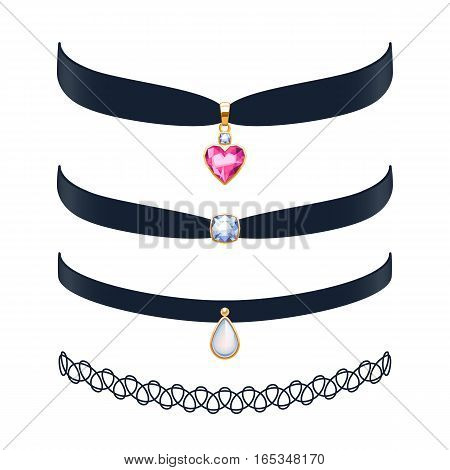 Beautiful choker necklaces set vector illustration. Jewelry with gemstone and gold pendants. Vector illustration. Good for beauty fashion jewel shop design.