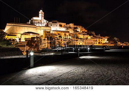 The city of Ibiza skyline at night