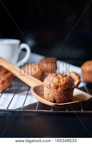 Banana Cupcakes With Walnuts On Kitchen Lattice