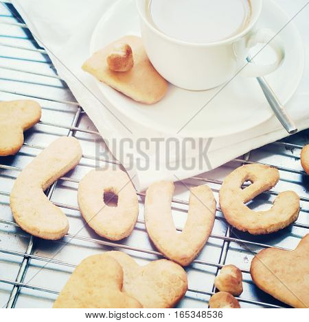 Cookies In Form Of Letter Love. Handmade. Valentine's Day