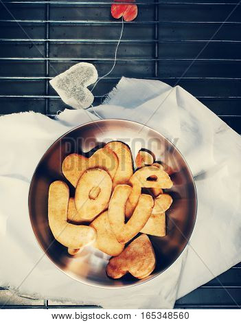 Cookies In The Form Of Hearts. Gingersnap With Handmade Tea Bag. Toned