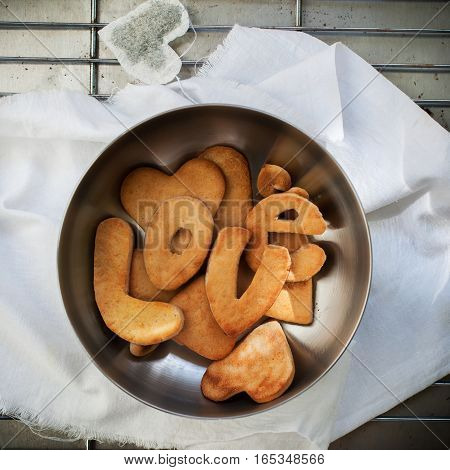 Cookies In Form Of Letter Love. Gingersnap With Handmade Tea Bag