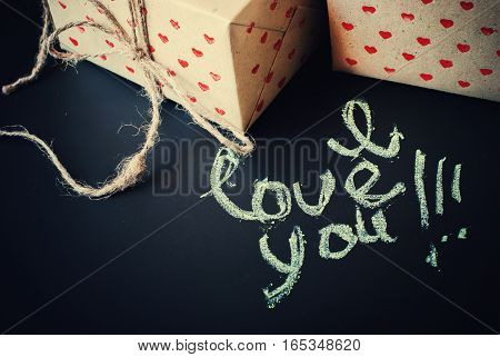 Message I Love You And Boxes In Paper With Hearts Pattern