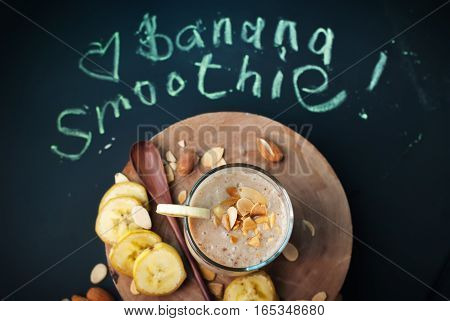 Fruit Banana Smoothies With Letters On Black Chalkboard