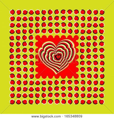 Abstract background executed in the form of fluctuating red polygons and heart. Optical illusion of movement.