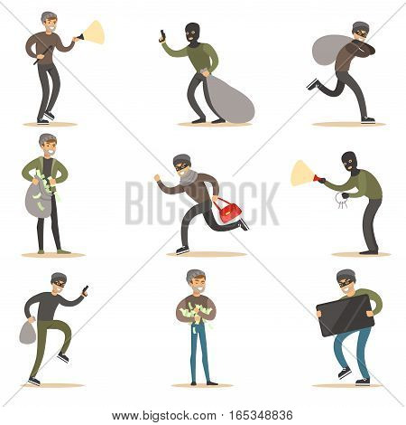 Burglars, Muggers And Thieves Set Of Smiling Criminals At The Crime Scene Stealing Vector Illustrations. Cartoon Outlaw Male Characters Thieving Wearing Mask And Dark Clothes.