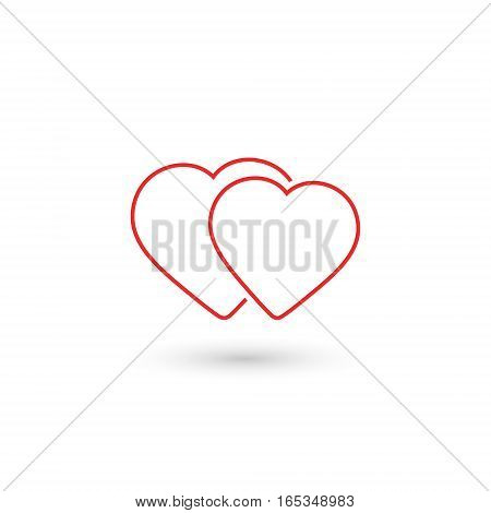 Two hearts icon outline vector isolated love red smbol.