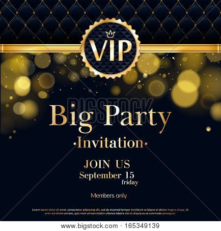 vip party premium invitation card poster flyer black and golden design template quilted pattern