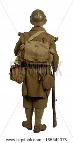 French soldier in 1940's uniform back view isolated on white background