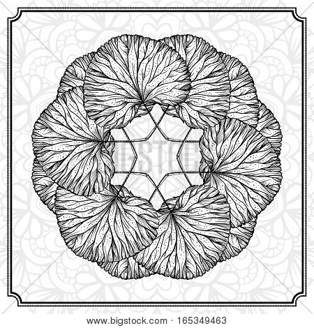 Herbal leaves black and white round design element