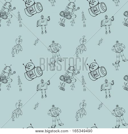 Seamless robot doodle pattern on light blue. The concept of science and the future. Cartoon style. Hand-drawn outline illustration.