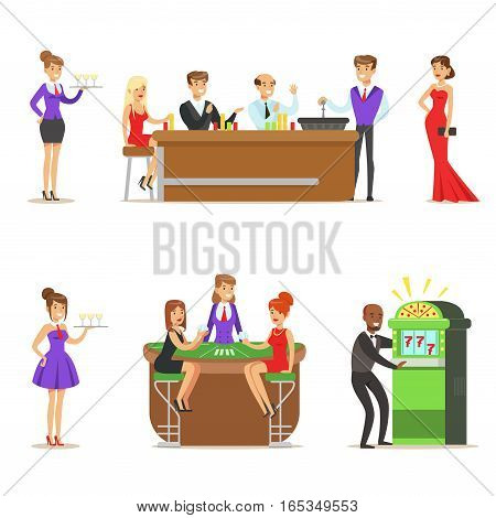 Gamblers In Chic Casino In Vegas Playing Poker, Roulette And Slot Machine Smiling Players, Waiters And Dealers Illustrations. Set Of Cartoon Vector Characters In Gambling House.