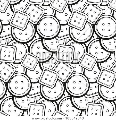 Black and white buttons vector seamless pattern