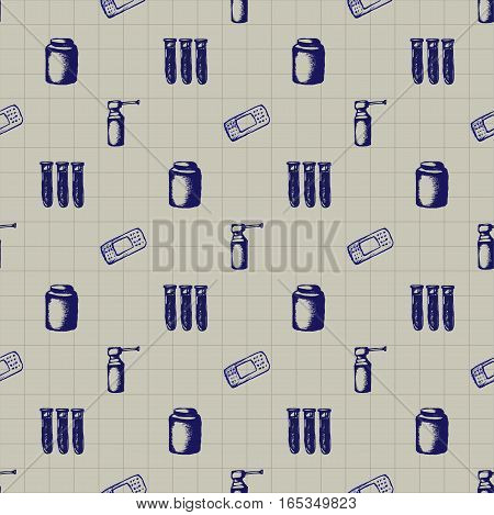 Healthcare and medicine. Vector doodle seamless pattern. Medical hand drawn icons on checkered background.