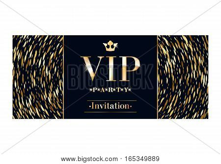VIP club party premium invitation card poster flyer. Black and golden round burst design template. Metal sequins pattern decorative vector background.
