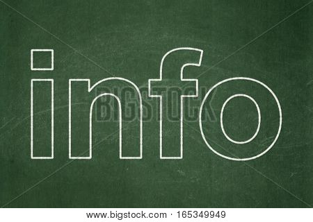 Data concept: text Info on Green chalkboard background