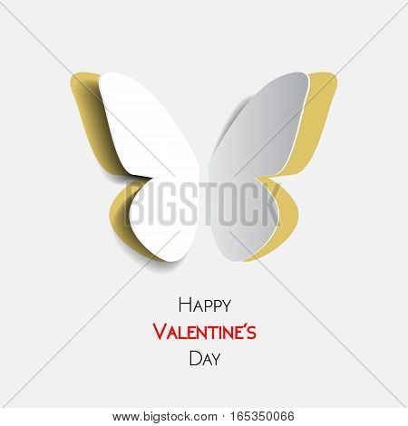Happy Valentines Day greeting card with paper origami yellow butterfly
