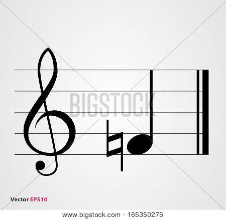 Natural musical symbol with note treble clef and staff