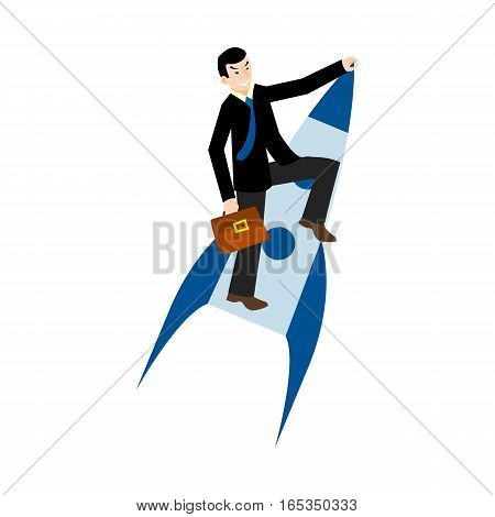 businessman flying on a rocket, business concept startup