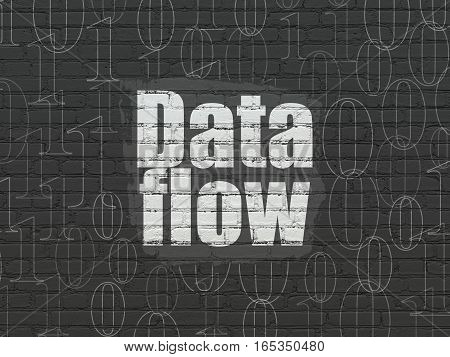 Information concept: Painted white text Data Flow on Black Brick wall background with  Binary Code