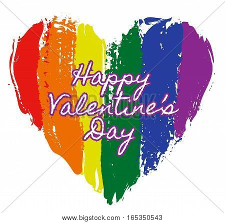 LGBT heart in rainbow colors with Happy Valentines Day text