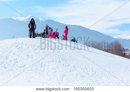 Bansko, Bulgaria - January 13, 2017: Winter ski resort Bansko, people and mountains view