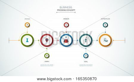 Vector infographic timeline template with 3D paper label integrated circles. Business process concept with options. For content diagram flowchart steps parts time line infographics workflow layout chart.