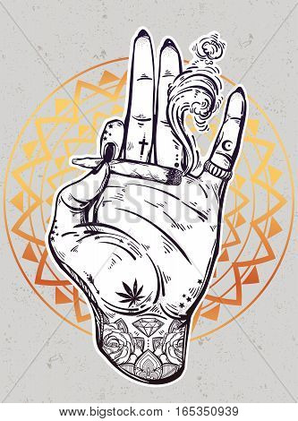 Tattooed hand holding a weed joint or spliff or tabacco cigarette. Drug or tabacco consumption, marijuana use silhouette clip art. Concept design, Elegant tattoo artwork. Isolated vector illustration.