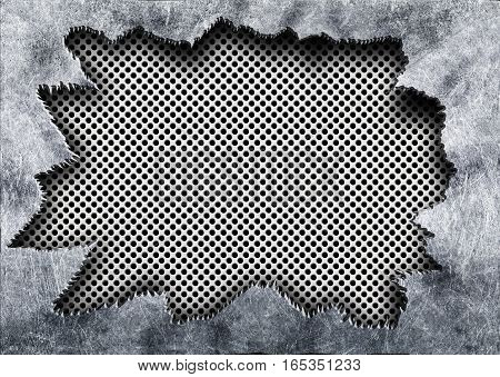 Perforated Mesh Texture With Torn Iron Metal Background,3D Illustration