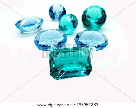 gem stones sapphire aquamarine diamonds jewel group poster