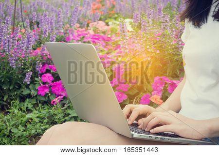 working woman using laptop at flower garden businessman typing on notebook concept of businessman in relax at flower garden.