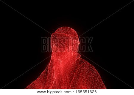 Pilot in Hologram Wireframe Style. Nice 3D Rendering