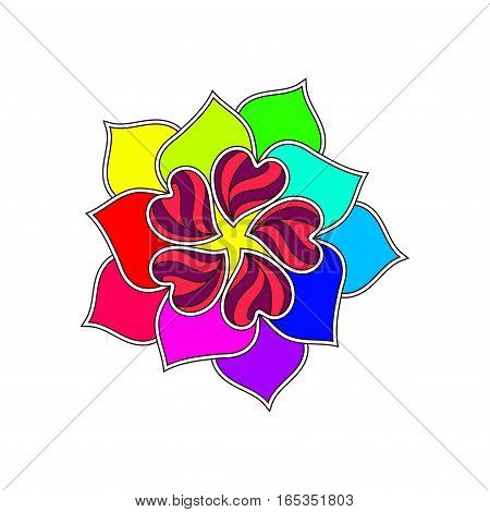 Vector Abstract Flower From Bright Color Hearts Over White.. Element for romantic designs, valentine s day and other love projects.