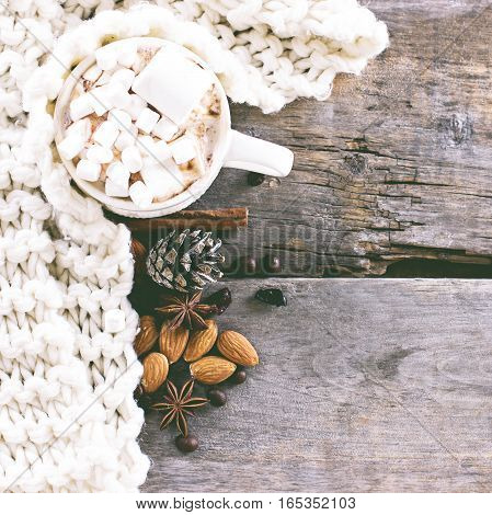 Coffee Hot Cocoa hot chocolate cones cozy knitted blanket. Winter New Year Christmas still life.