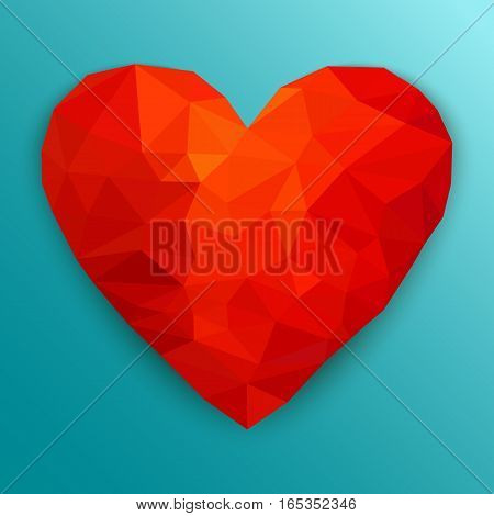 Polygonal heart. Low poly design on blue background with shadow. Abstract red shape. Vector illustration.