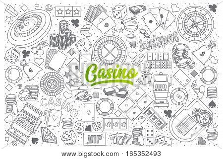Hand drawn set of Casino doodles with green lettering in vector