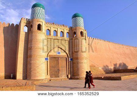 KHIVA, UZBEKISTAN: Entrance to the Kunya Ark in Khiva Old town