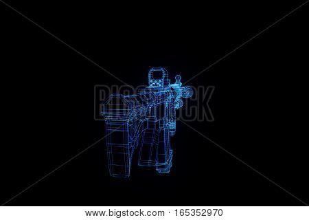 Gun Weapon Hologram Wireframe. Nice 3D Rendering